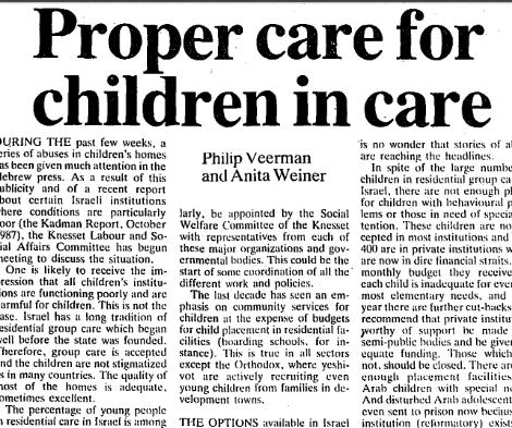 Proper care for children in care